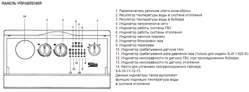 Панель управления Baxi Slim