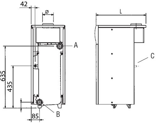 Размеры котлов линейки Baxi Slim HP