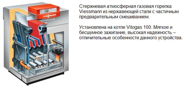 Стержневая газовая горелка, установленная на котле Vitogas 100